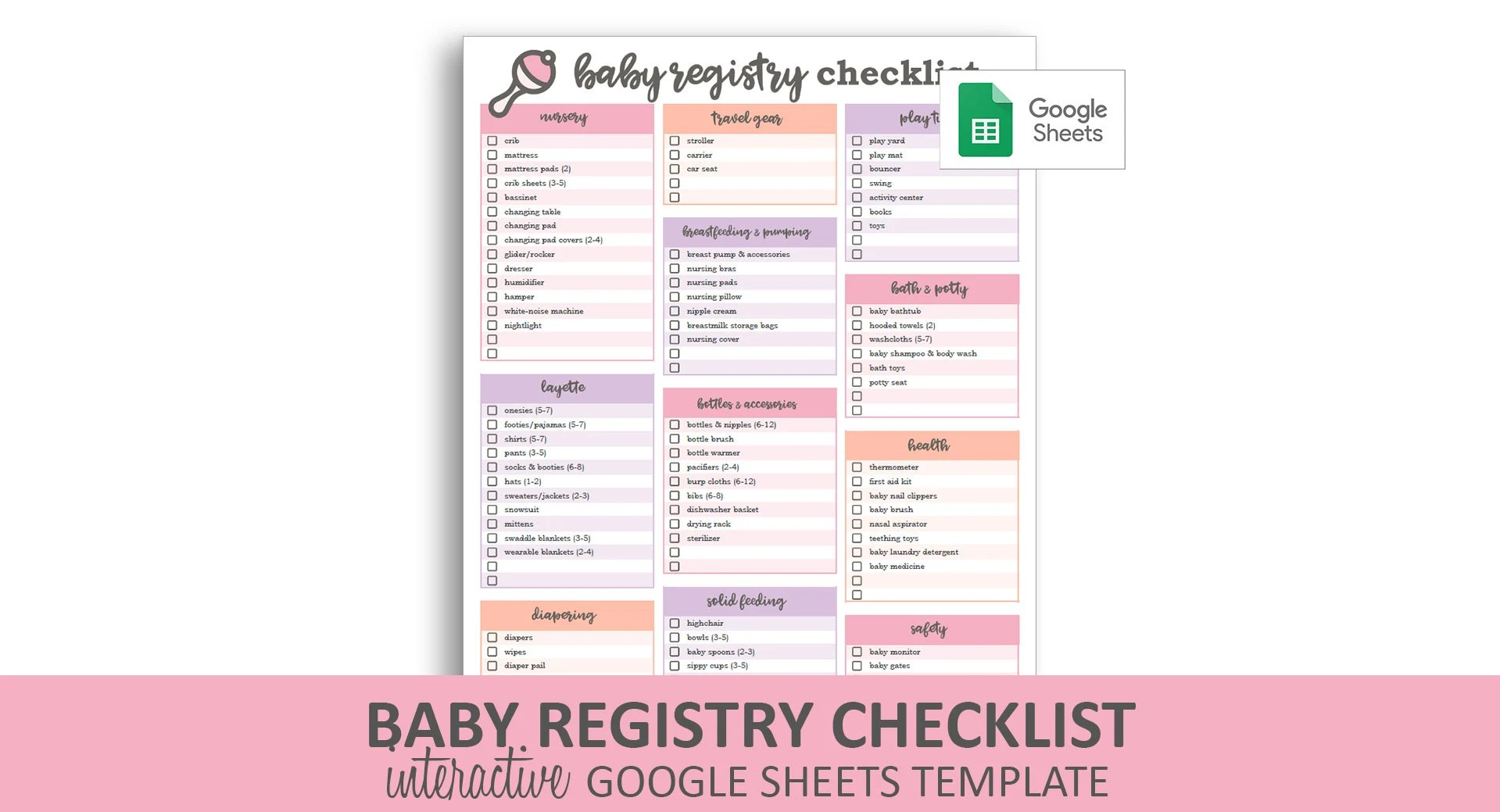 Baby Registry Checklist Pink Google Sheets Template Etsy