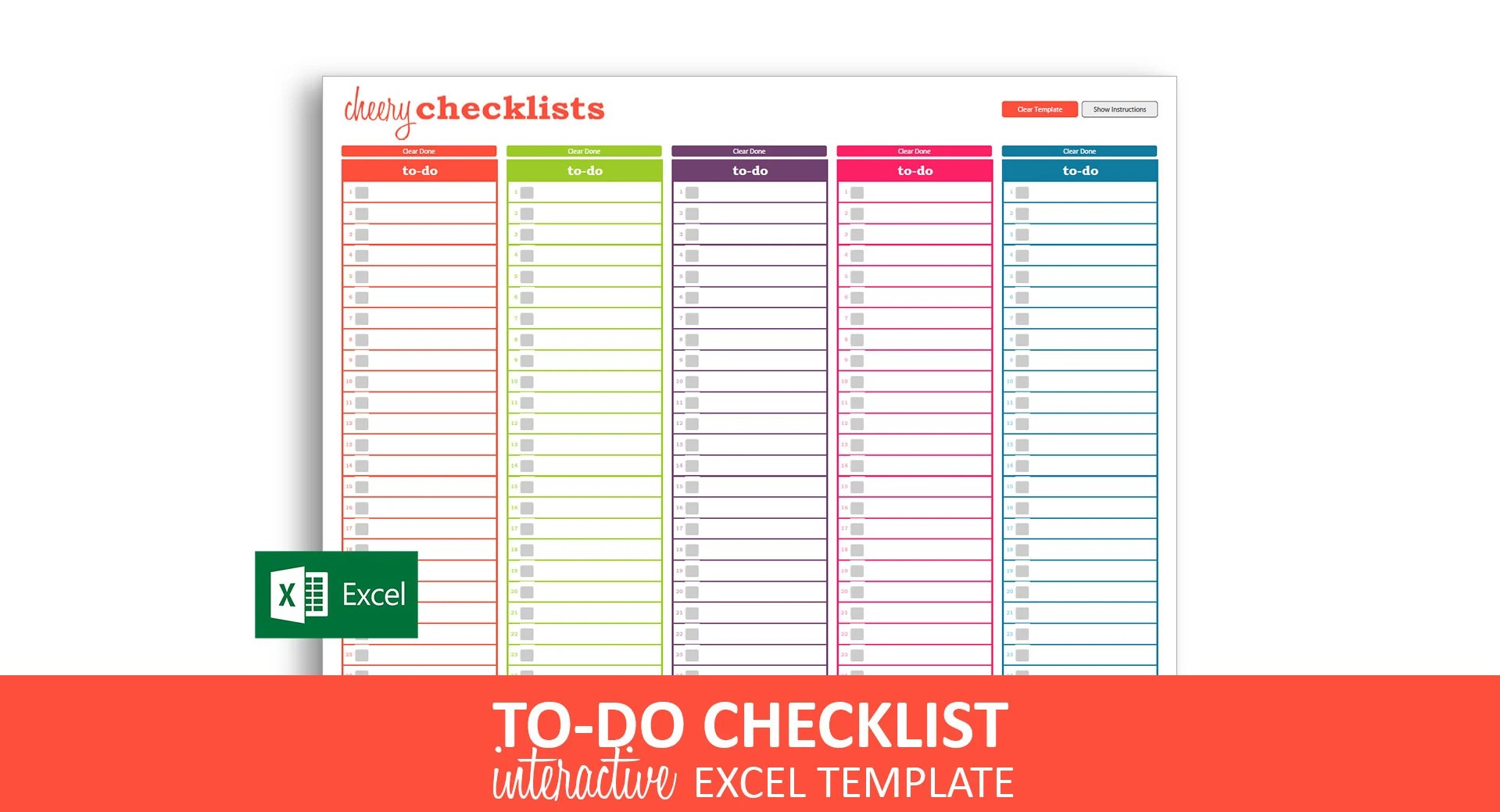 Cheery Checklists Excel Template Printable Checkable To Do Etsy