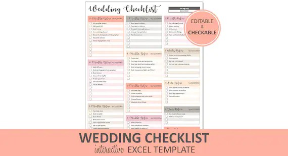 Peachy Wedding Checklist Wedding To Do List Printable and