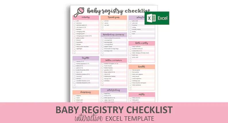 Baby Registry Checklist Pink Excel Template Editable Etsy
