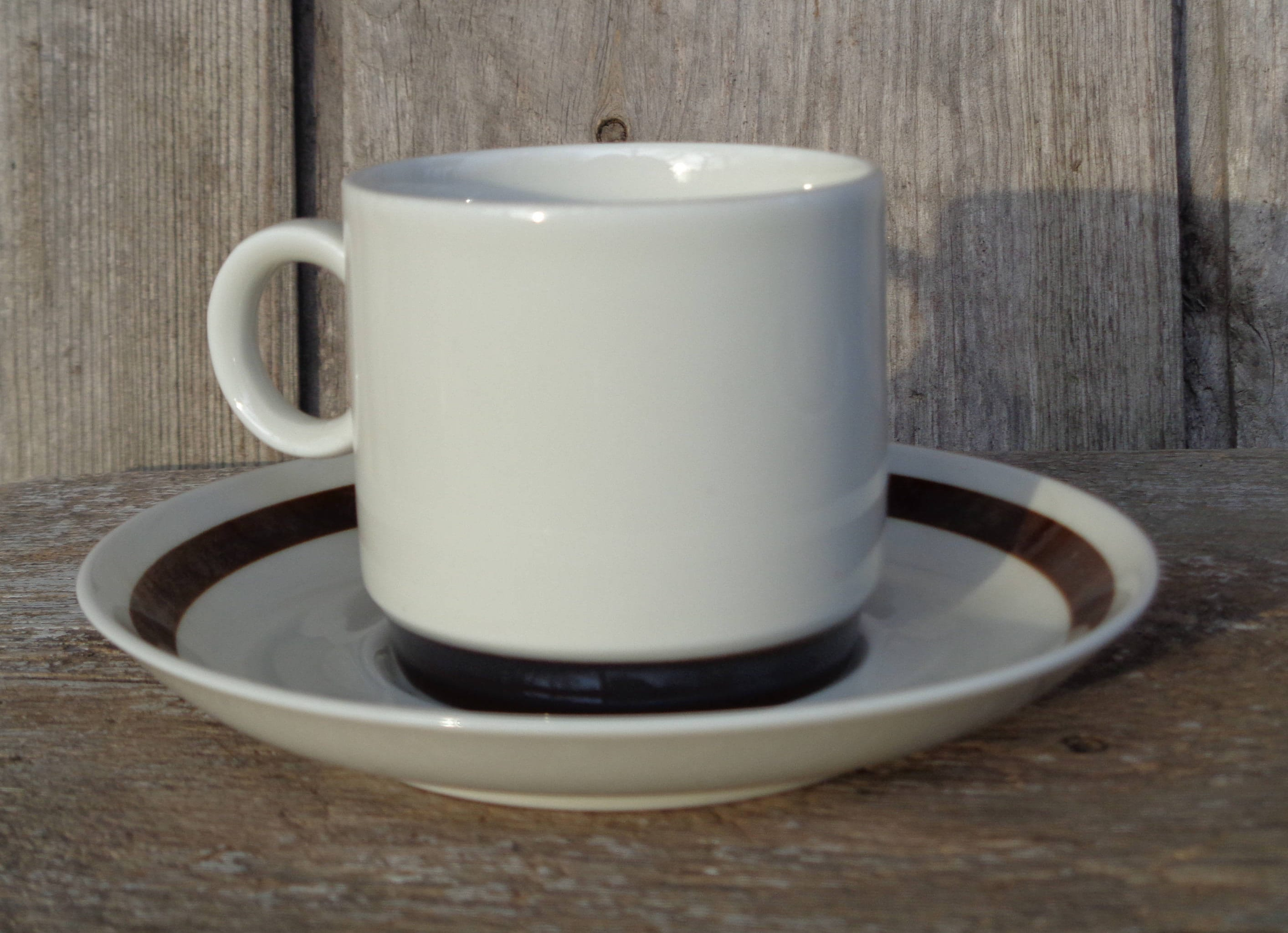 Small Coffee Cups And Saucers Swedish Vintage Small Coffee Cup Saucer Rorstrand Sweden Coffee Set Vdn P555 White Porcelain With Brown Rim Vintage Espresso Cup