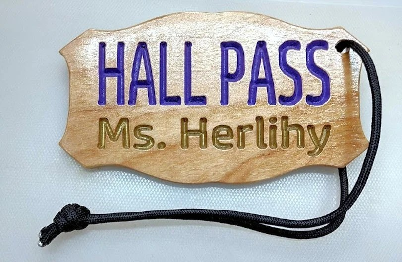 PERSONALIZED WOOD CUSTOM hall pass color choice school Etsy