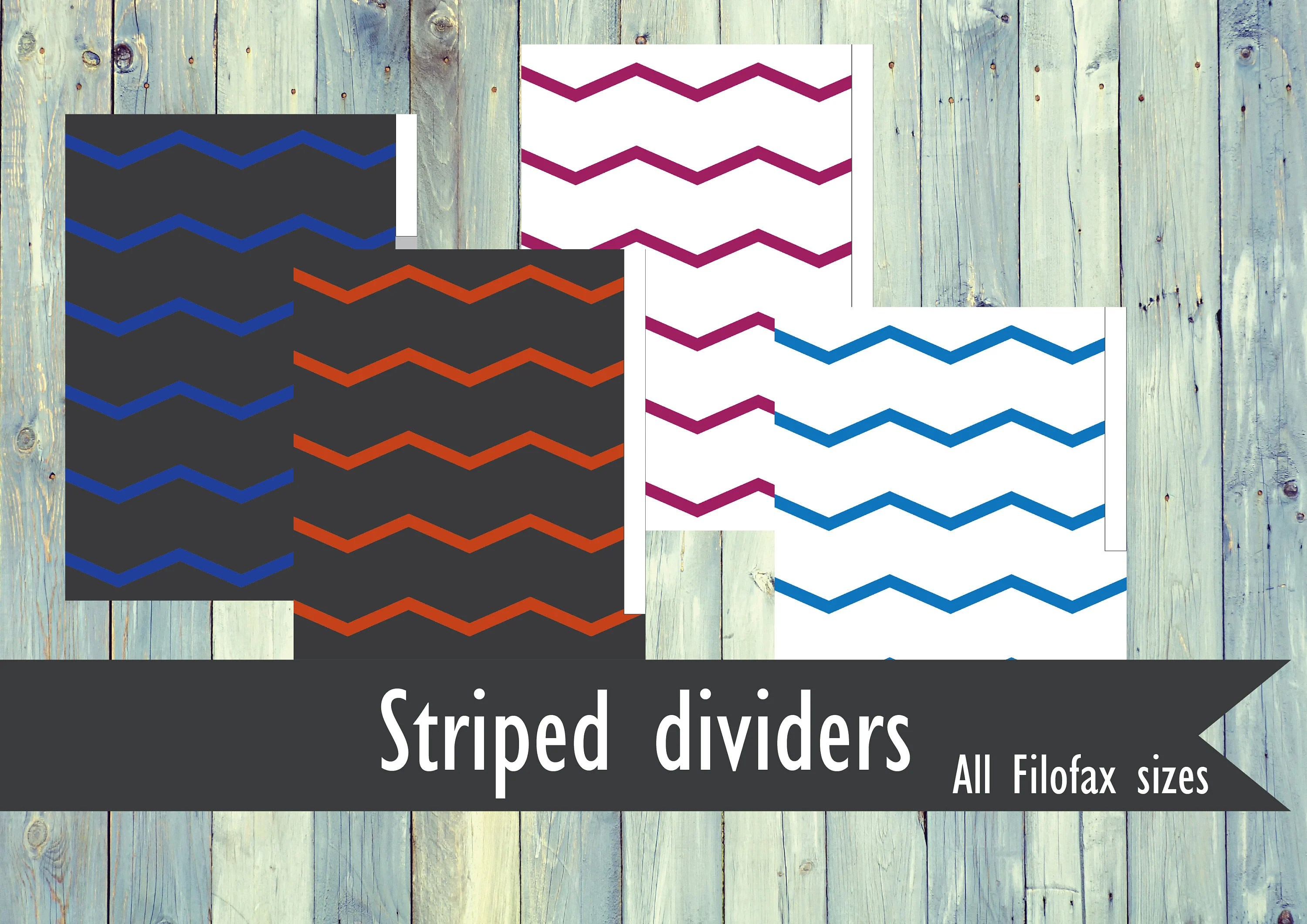 Printable striped Filofax dividers Etsy