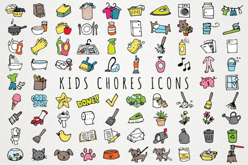 Kids Chores Icons Set daily tasks organizer clipart chore Etsy
