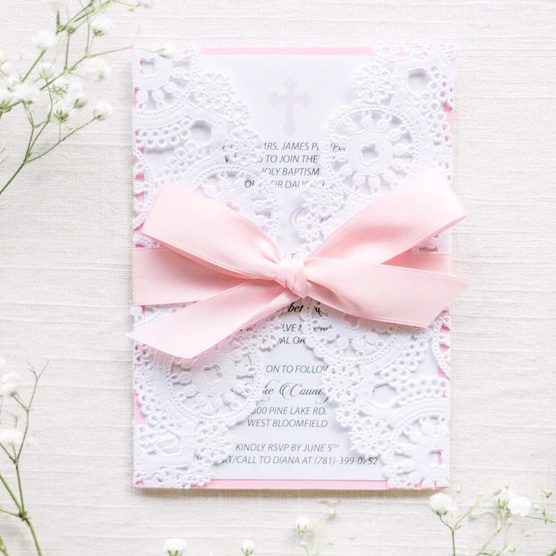Christening Invitation Card/Baptism Invitation Card/Baby Girl Etsy