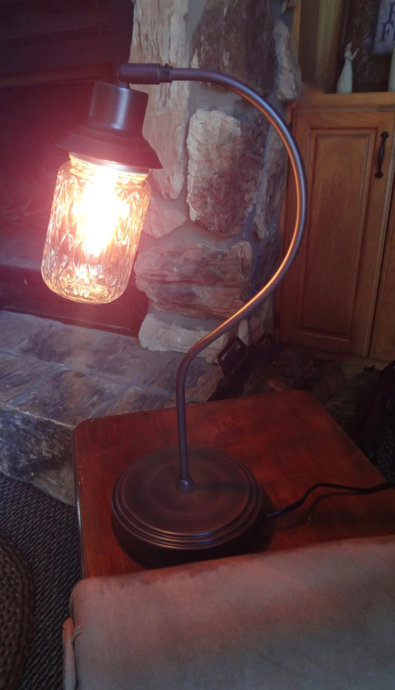 Glass Edison Lamp Edison Lamp Gooseneck Lamp Quilted Glass Jar Lamp Mason Jar Lamp Desk Lamp Table Lamp Accent Lamp Office Lamp Rustic Lamp Lighting