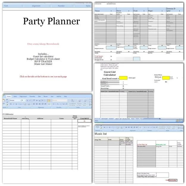 Party Planner Budget headcount Play list music RSVP Etsy