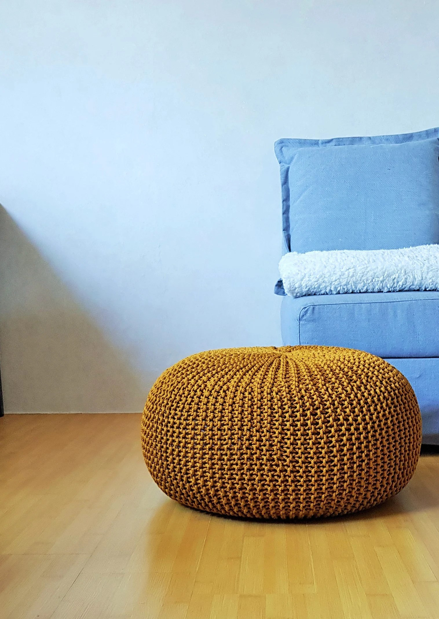 Bean Bag Footstool Knitted Mustard Rope Pouf Large Ottoman Crochet Footstool Nursery Bean Bag Outdoor Ottoman