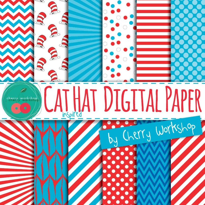 Cat in the Hat Dr Seuss inspired Digital Paper Cat Etsy