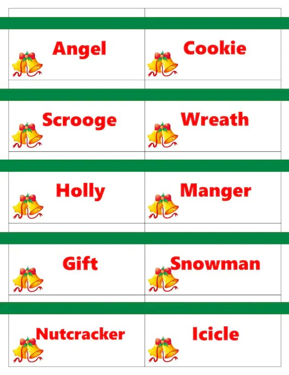 Printable Christmas Game Cards for Pictionary or Charades Etsy