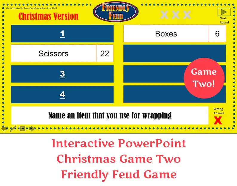 Christmas Friendly Feud GAME TWO Interactive PowerPoint Game Etsy