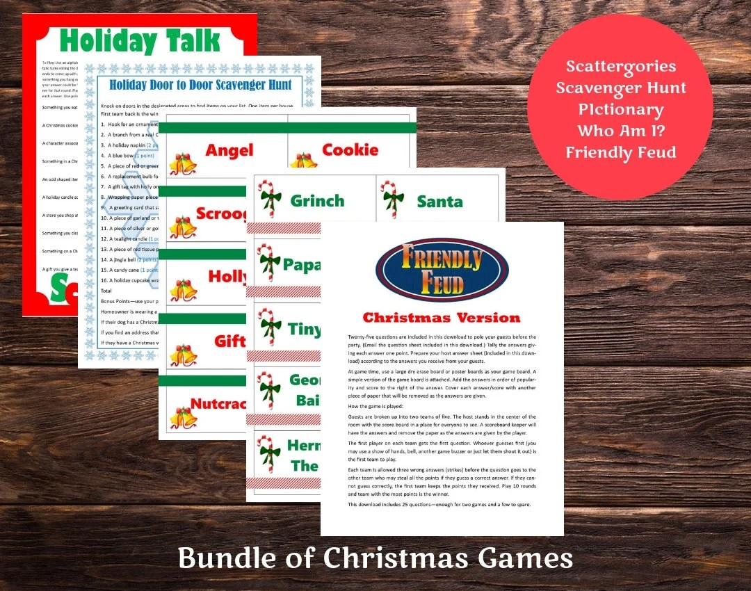 Christmas Printable Games Bundle Lot of 5 Friendly Feud Etsy