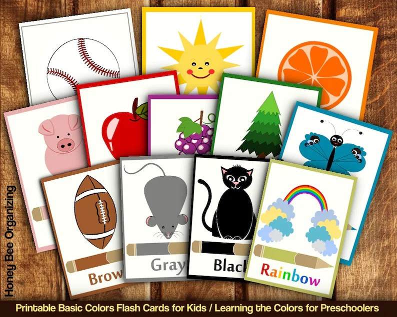 Printable Basic Colors Flash Cards for Toddlers Preschoolers Etsy