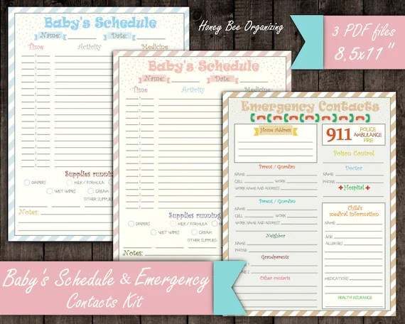 Baby\u0027s Schedule Kit Emergency Contacts List Baby Daily Etsy - infant daily schedule