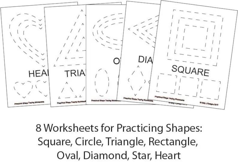 Preschool Shape-Tracing Worksheet PDF Printables Etsy