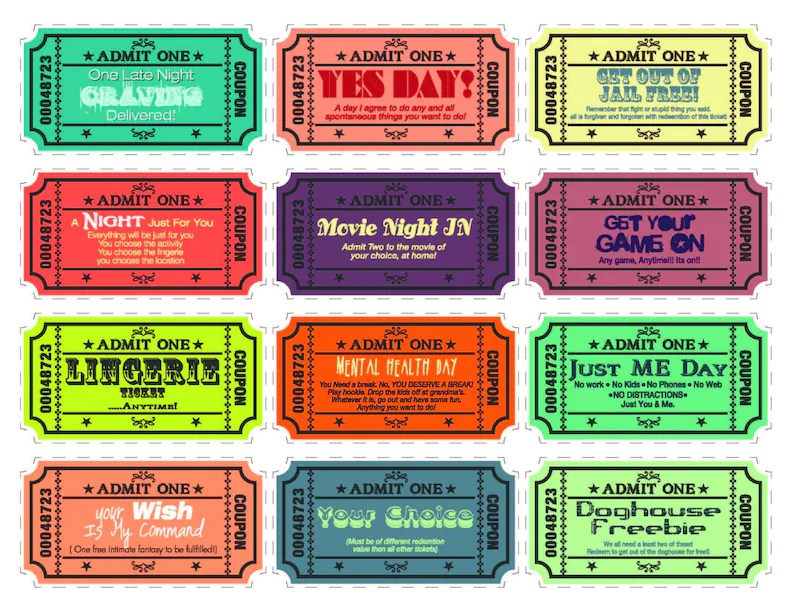 Printable Love coupons for wife/husband boyfriend/girlfriend Etsy