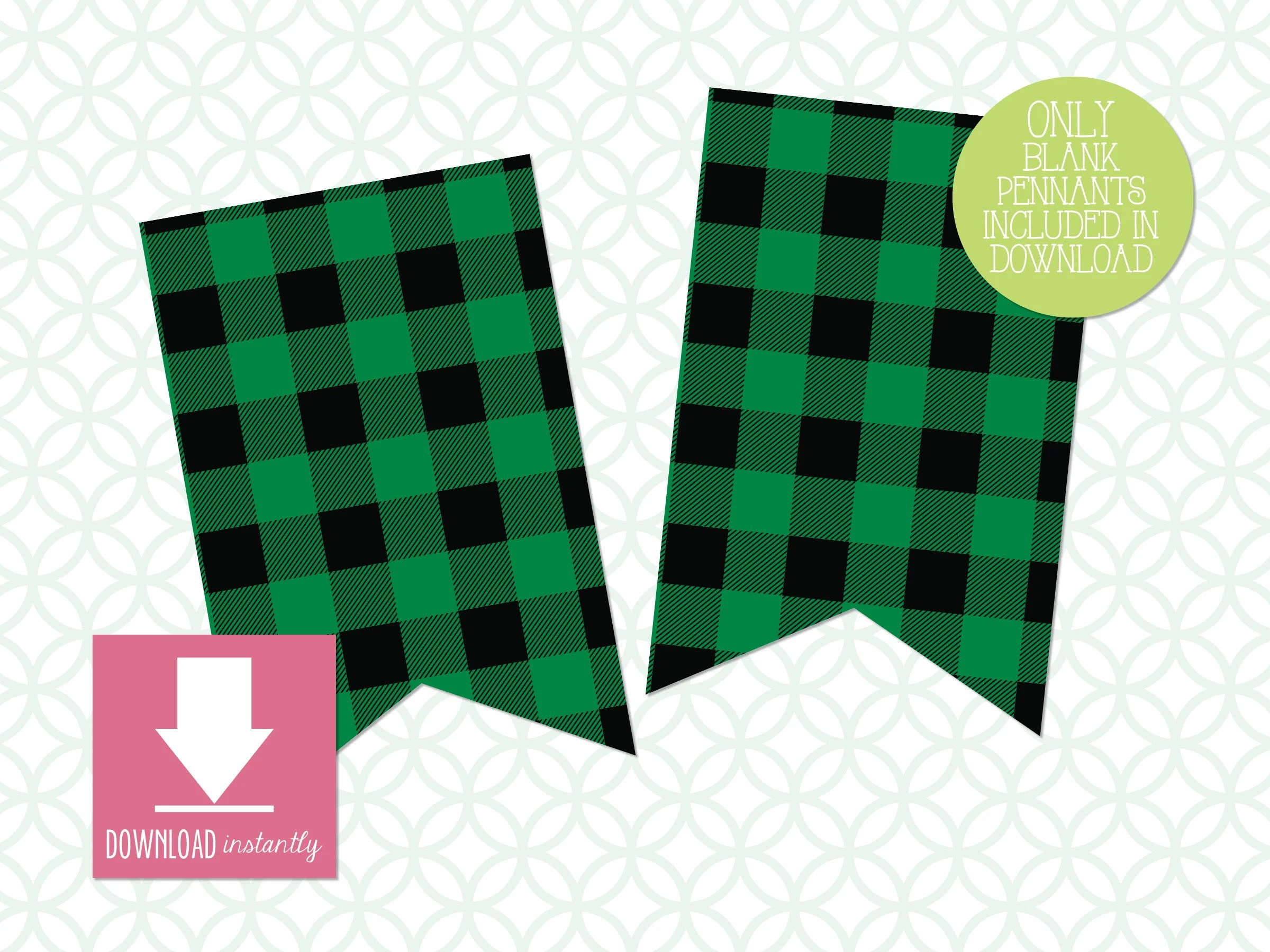 Printable Pennant Banner Evergreen Buffalo Plaid Banner with Etsy