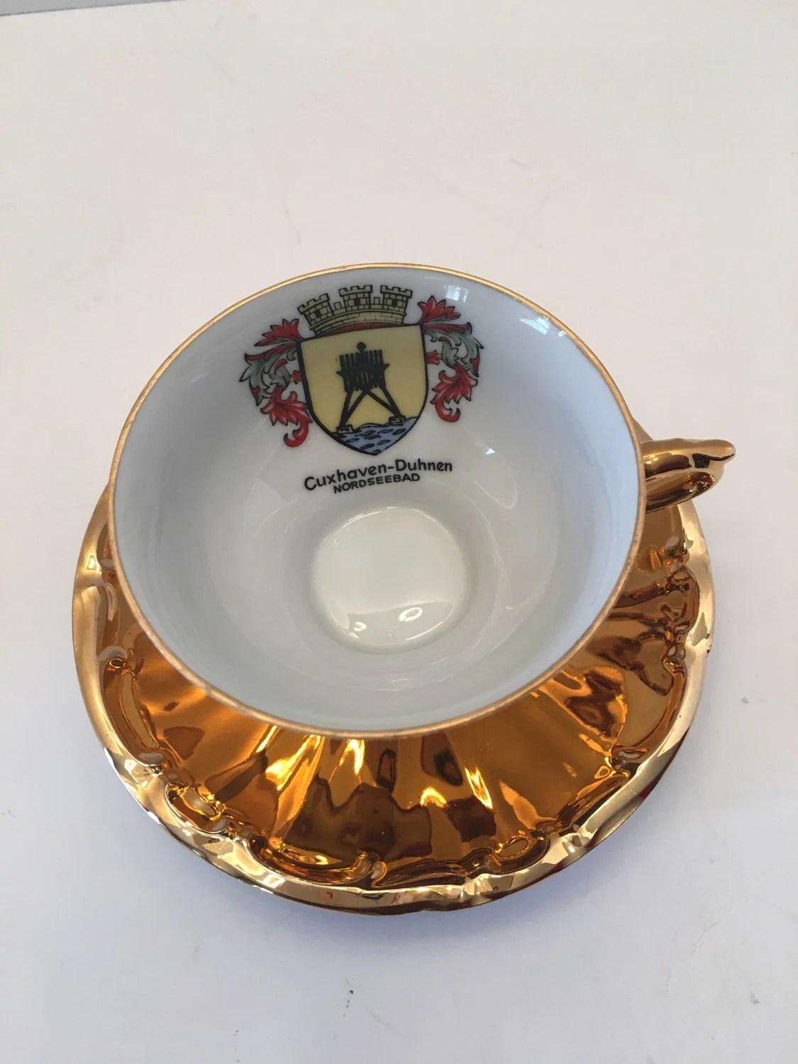Shabby Chic Cuxhaven Cuxhaven Duhmen Nordseebad Teacup And Saucer Gold Khm Bavaria Germany Gold Crown Cup And Plate Vintage