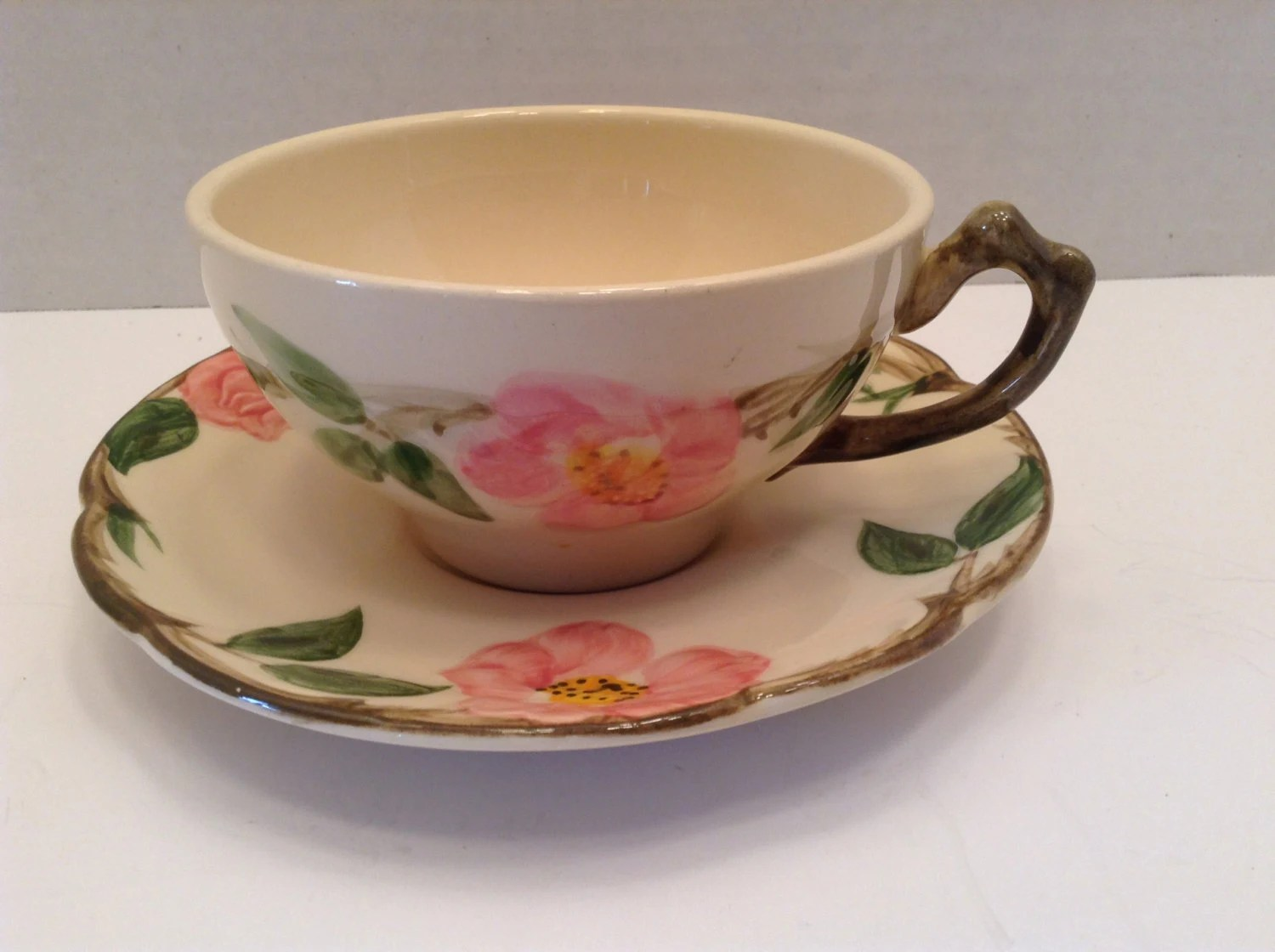 Shabby Chic Cuxhaven Franciscan Desert Rose Cup And Saucer California Pottery Shabby Chic