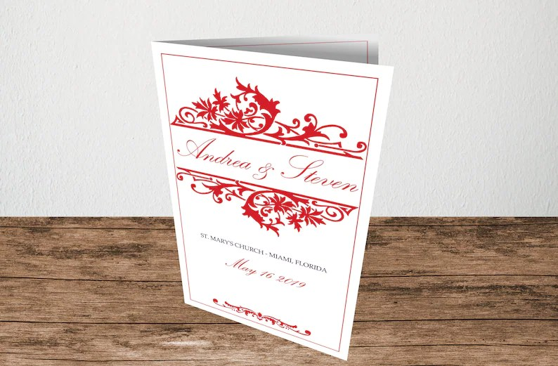 Red Wedding Program Template, Foldover Booklet Reception Program, Instant  Download, Editable Text  Colors, Microsoft Word Format (doc)