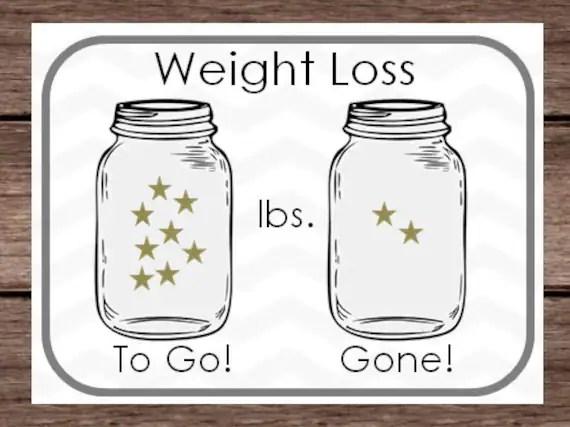 DIGITAL - Weight Loss Sticker Chart - Mason Jar Star Goal Lbs Pounds
