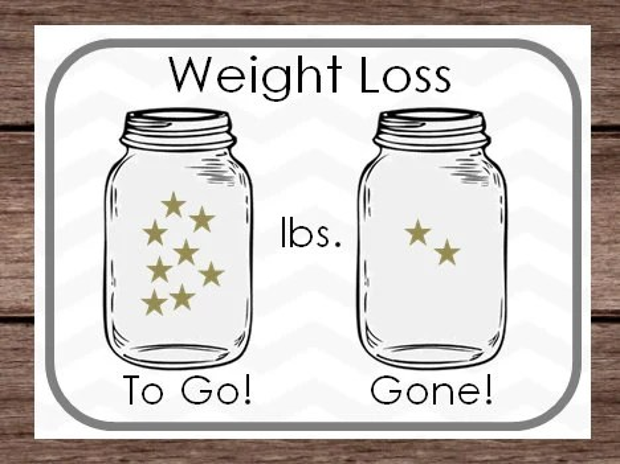 DIGITAL Weight Loss Sticker Chart Mason Jar Star Goal Lbs Etsy