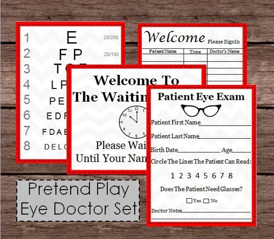 Pretend Doctor Eye Chart  Patient Exam Check Up Kids Doc Etsy