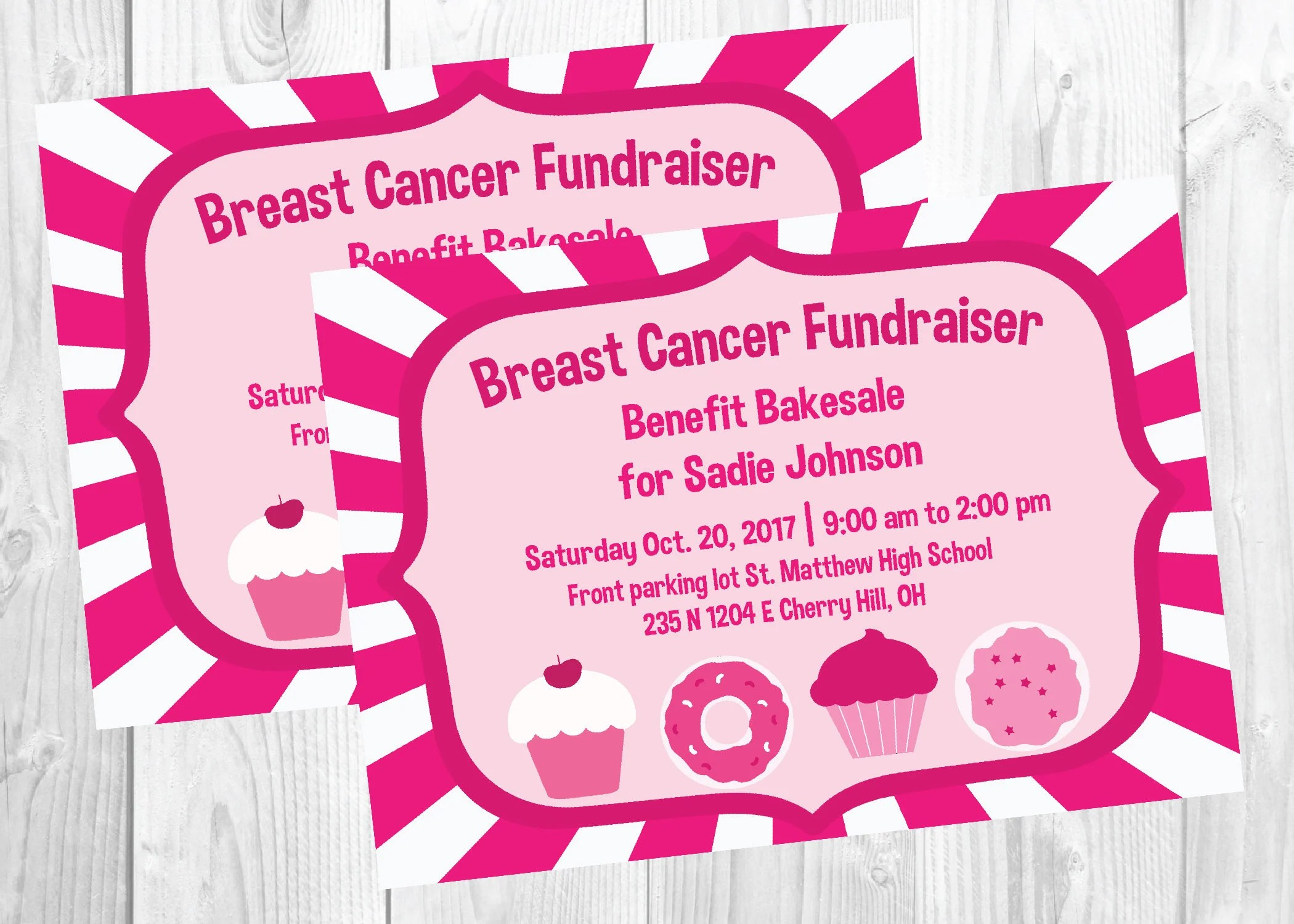 Bake Sale Flyer / Breast Cancer Fundraiser / Race for the Etsy