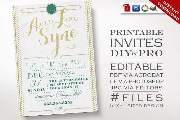New Years Invitation Template Art Deco Glitter New Years Party