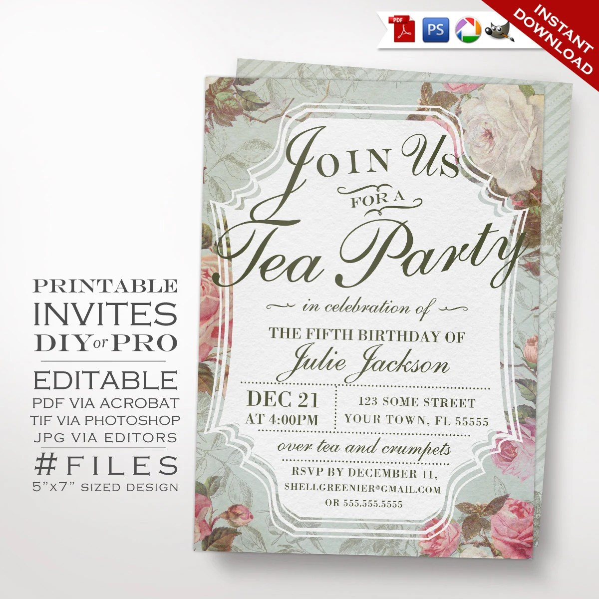 Birthday Tea Party Invitation Template Vintage Rose Tea Etsy