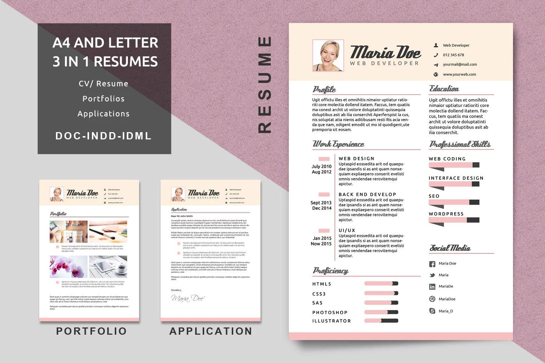 A4/Letter Resume Templates Modern Resume CV Template Etsy