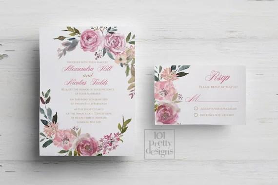 Botanical wedding invitation printable wedding invitation design