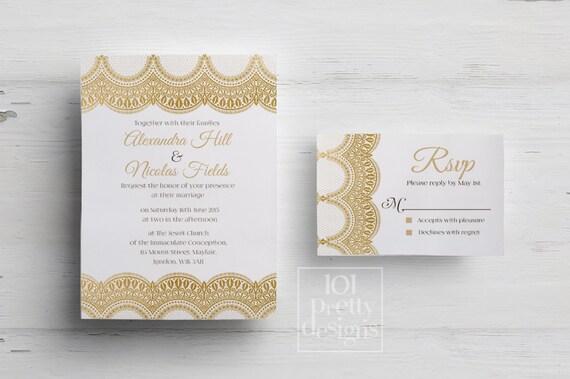 Golden wedding invitation template printable wedding invitation