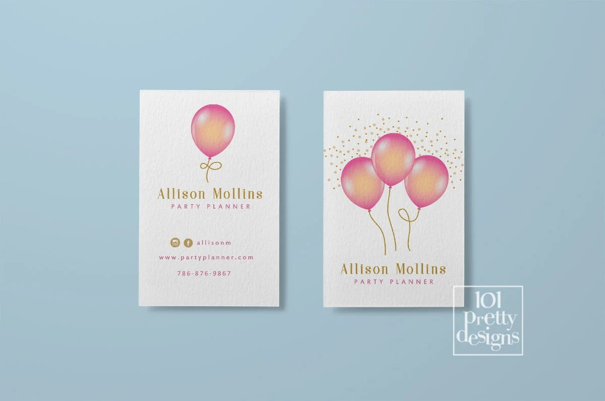 Balloons business cards printable business card design party planner