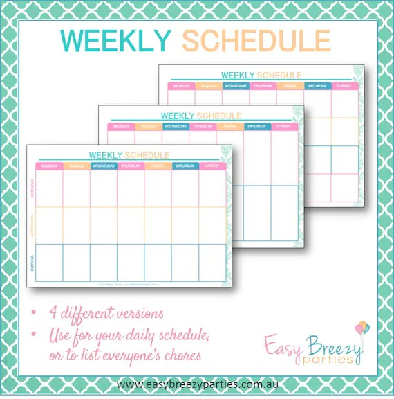 Weekly Schedule Printable - Weekly timetable, planner - Family chore