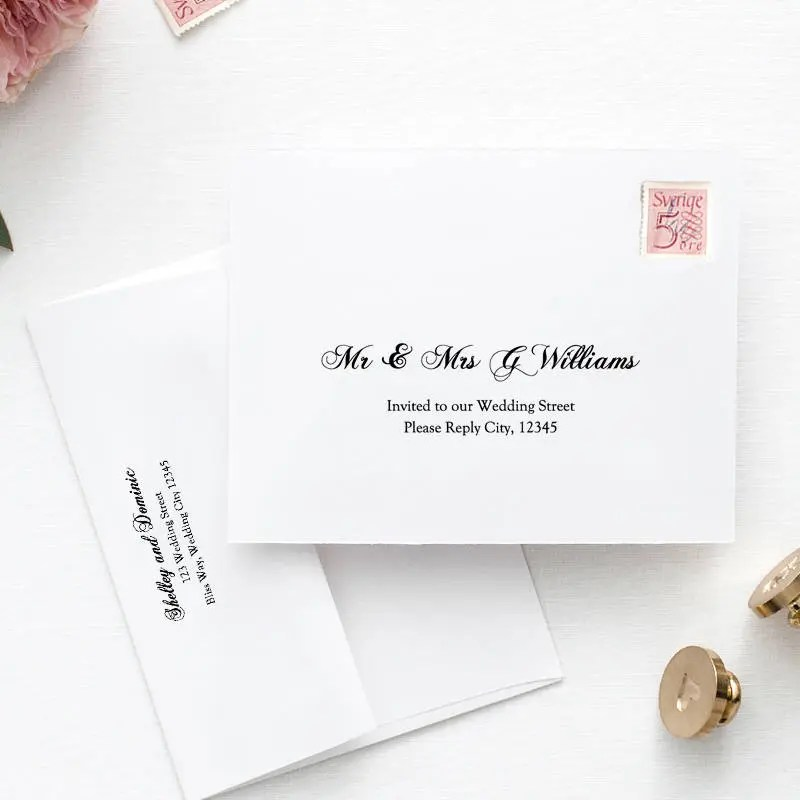 Printable Wedding envelope template, 5x7, front and back design