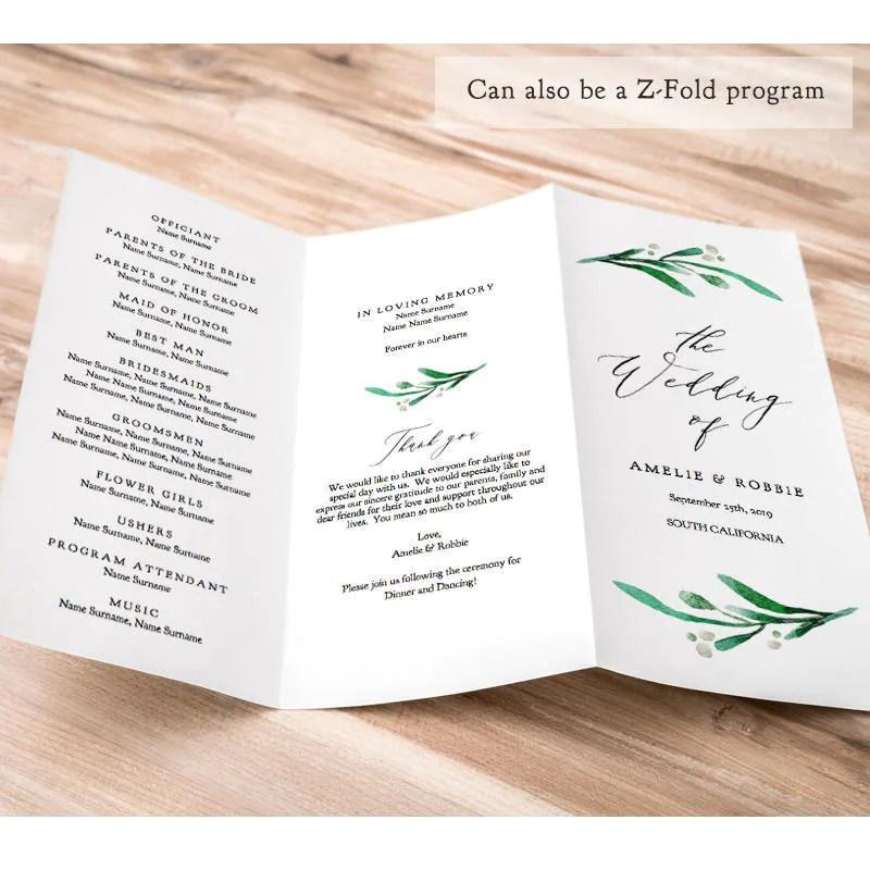 Z Fold or Trifold Wedding Program Printable Template Order of