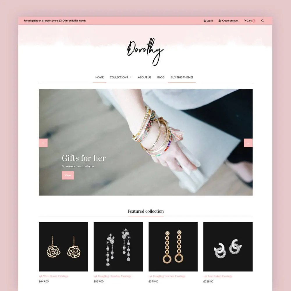 Feminine Shopify Theme Dorothy Shop Theme E-commerce Etsy