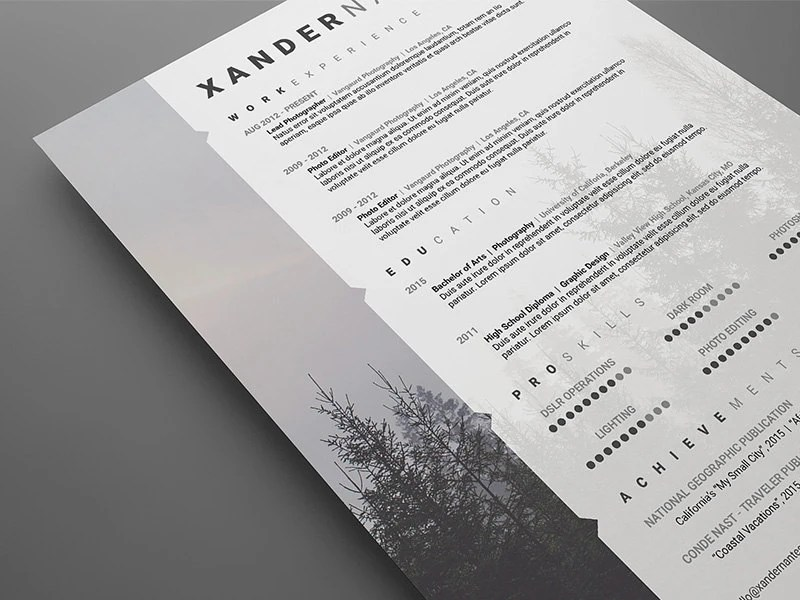 Photographer Resume Template Photoshop PSD Instant Download Etsy