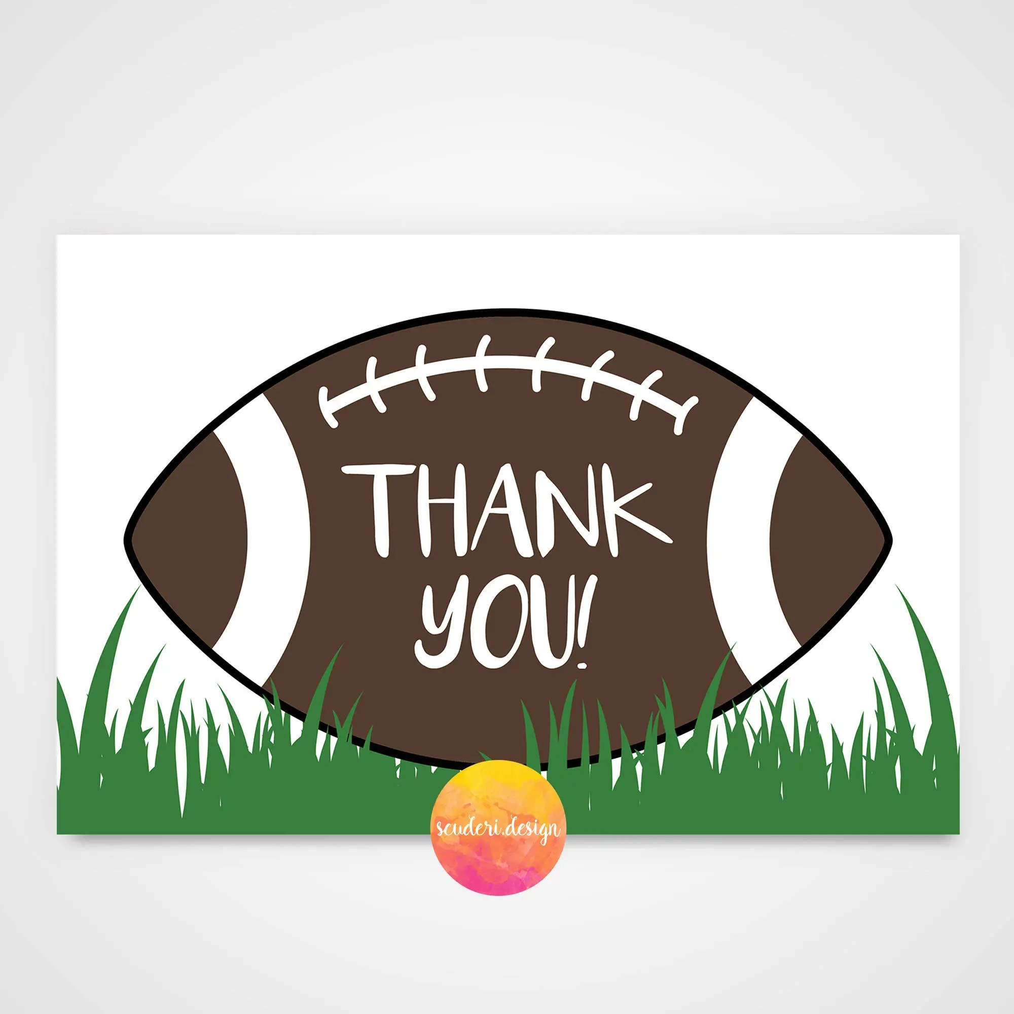 Printable Football Thank you card/ Matching Thank you Etsy