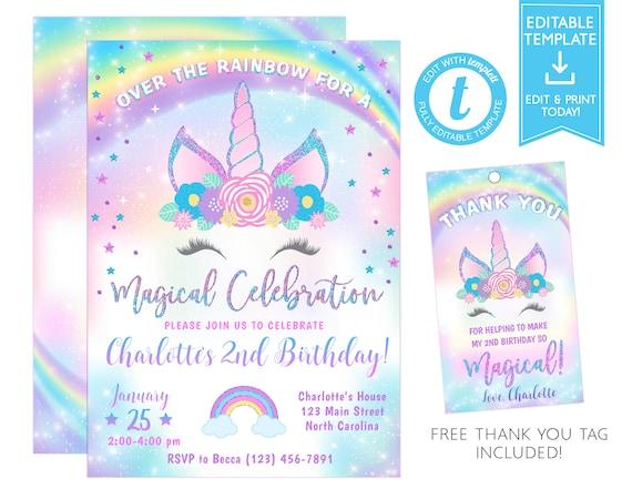 Unicorn Invitation, Unicorn Birthday Invitation Template, Unicorn