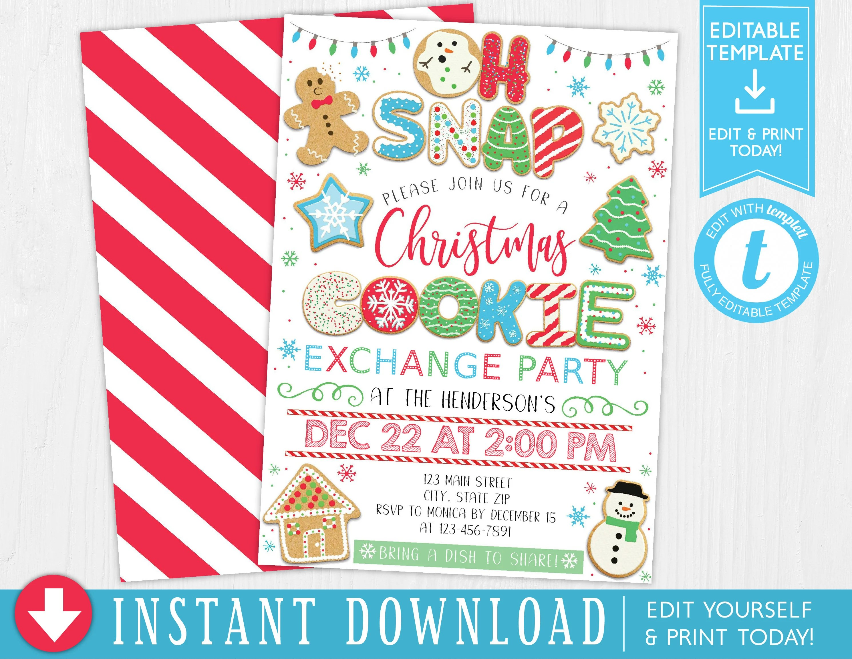 Christmas Cookie Exhange Party Invitation Holiday Cookie Etsy