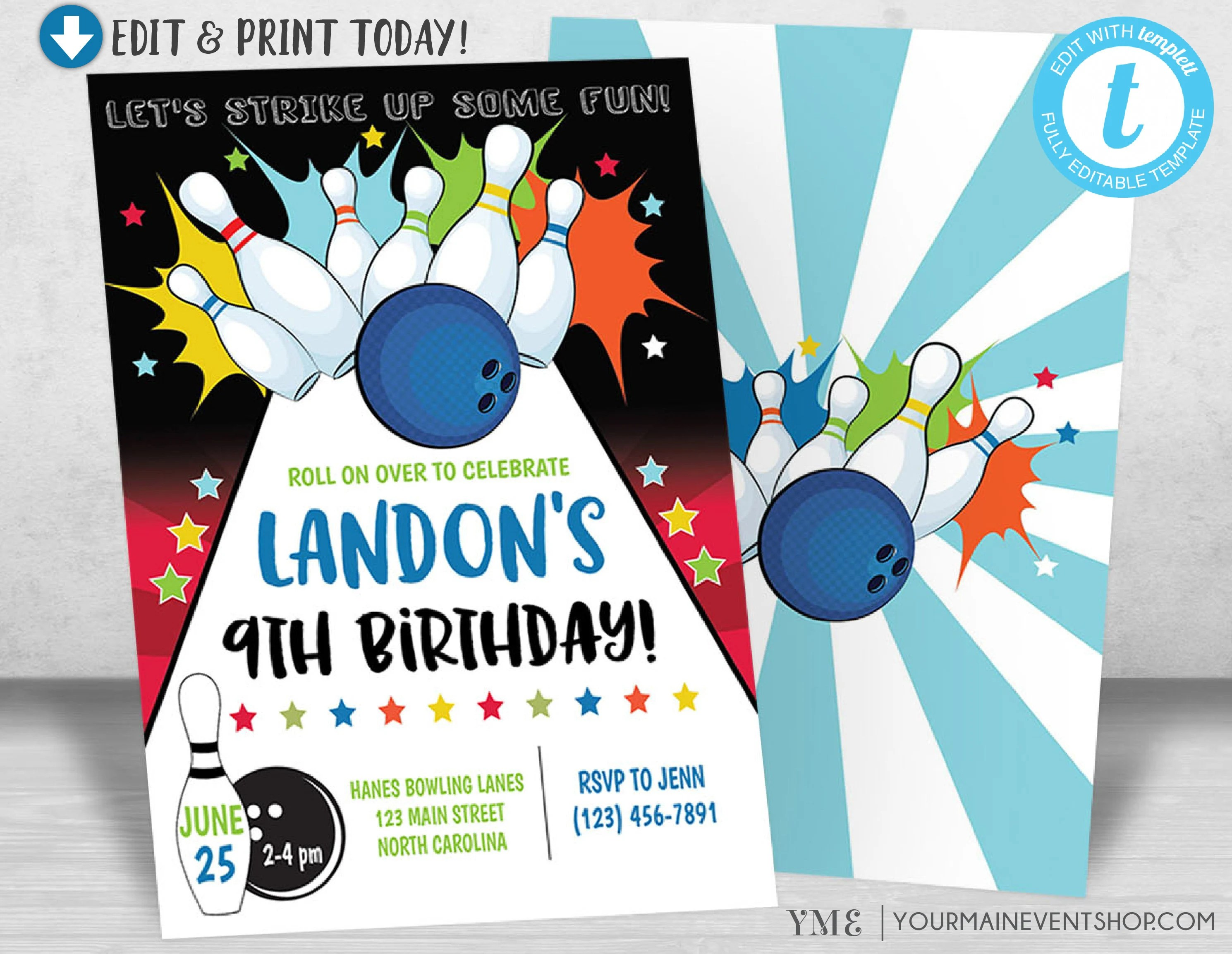Bowling Birthday Party Invitation, Bowling Party Invitiation