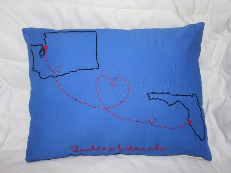 Long Distance State To State Pillow With Name