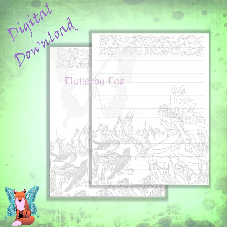 Fairy Stationery Fairy Paper Writing Paper Lined Etsy
