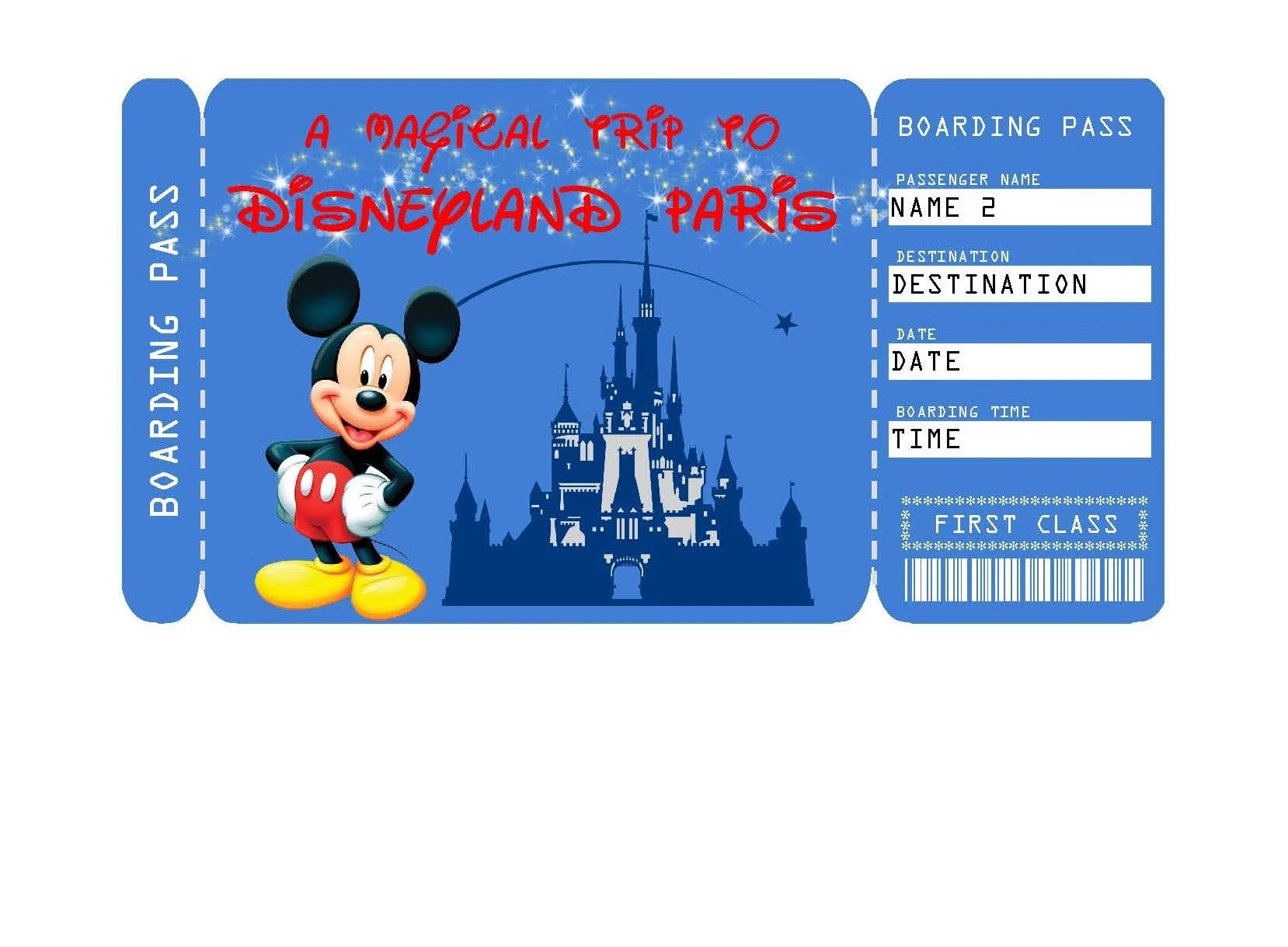 Printable Ticket to Disneyland Paris Boarding Pass Etsy