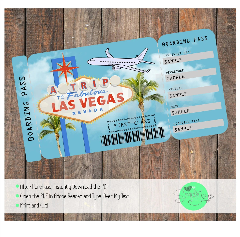 Printable Ticket to Las Vegas Boarding Pass Customizable Etsy