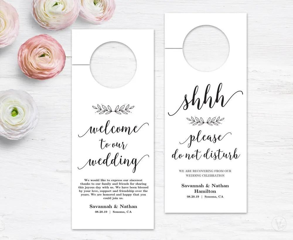 Wedding Door Hanger, Printable Door Hanger Template, Please Do Not