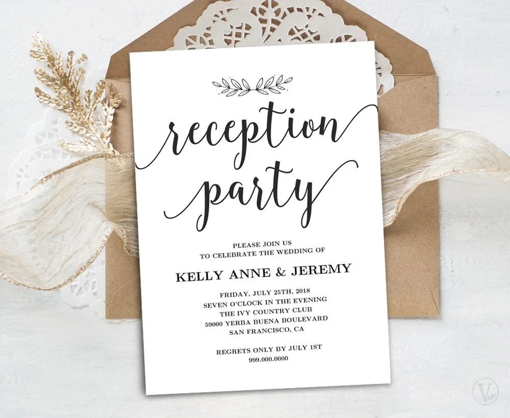 Wedding Reception Invitation Printable Reception Party Card Etsy