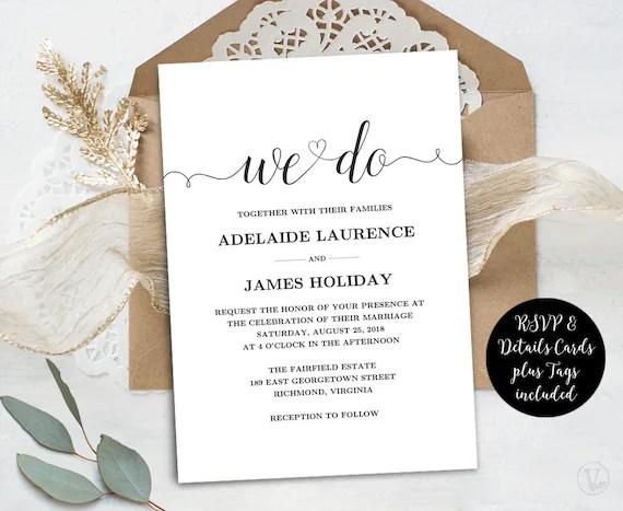 Wedding Invitation Template Rustic Wedding Invitations Kraft Etsy